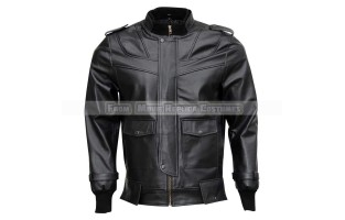 MEN'S STYLISH BLACK BOMBER LEATHER JACKET