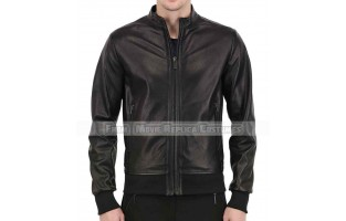 MEN'S SOFT LEATHER SLIM FIT BOMBER JACKET