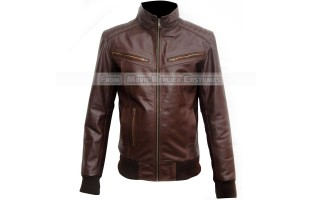 MEN'S BROWN LEATHER BOMBER JACKET