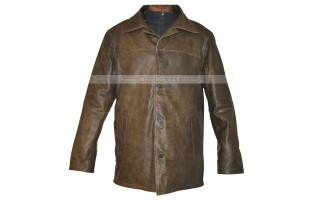 MEN'S CRACKED LEATHER BROWN STRAIGHT JACKET