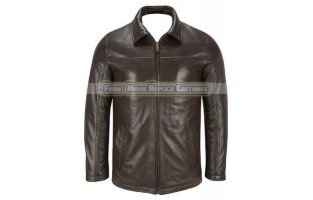 MEN'S CHOCOLATE BROWN LEATHER FASHION JACKET