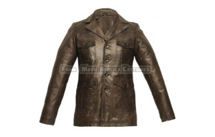 MEN'S CHOCOLATE BROWN WAXED LEATHER JACKET