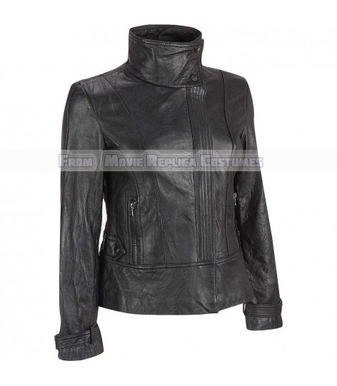 WOMEN'S LEATHER STANDING COLLAR STYLE FASHION JACKET