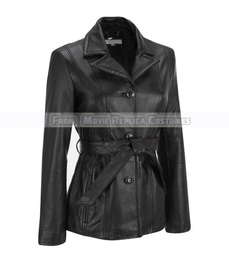 WOMEN'S LEATHER ADJUSTABLE WAIST FASHION JACKET