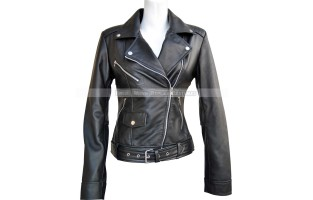 WOMEN'S LEATHER SLIM FIT LONG TALL ARM STYLE BIKER JACKET
