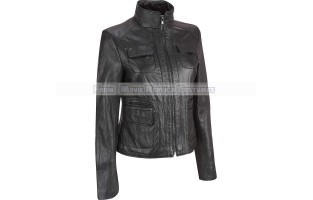 WOMEN'S LEATHER LONG TALL ARM STYLE FASHION JACKET