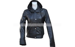 WOMEN'S LEATHER LONG TALL ARM STYLE BIKER JACKET WITH HOODIE