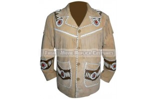 MEN'S BEIGE WESTERN FRINGED AND BONES SUEDE LEATHER JACKET