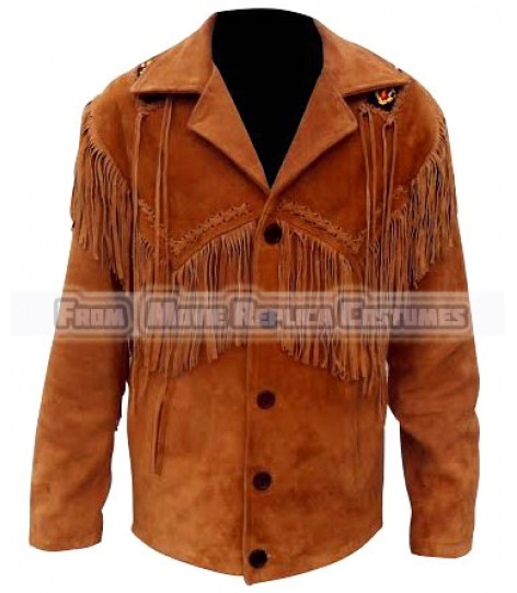MEN'S-WESTERN-STYLE-FRINGED AND BEADED COOLHIDES LEATHER COAT