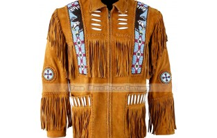MEN'S WESTERN STYLE FRINGED AND BEADED LEATHER JACKET