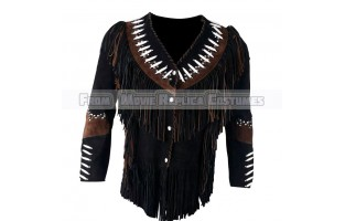 MEN'S-WESTERN-STYLE COWBOY LEATHER JACKET WITH WHITE BEADS