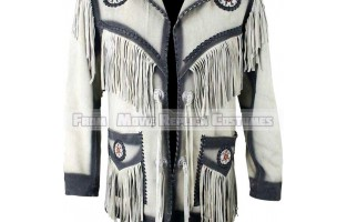 MEN'S WESTERN STYLE FRINGED WHITE LEATHER JACKET