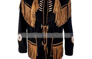 MEN'S WESTERN STYLE FRINGED -BONES AND BEADED IN BLACK BEADS JACKET