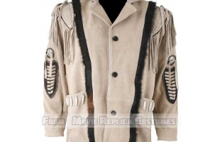 MEN'S WESTERN STYLE FRINGED BEIGE LEATHER JACKET