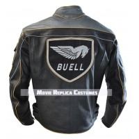 MEN BUELL BLACK MOTORCYCLE RACING LEATHER JACKET