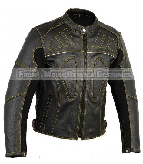 MEN'S VENTED LEATHER JACKET FOR BIKERS CE PADDED