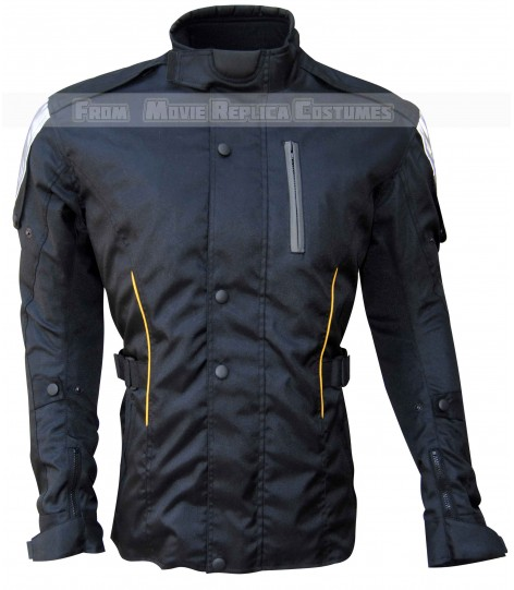 BLACK COLOR TEXTILE JACKET YELLOW STRIP ON POCKET