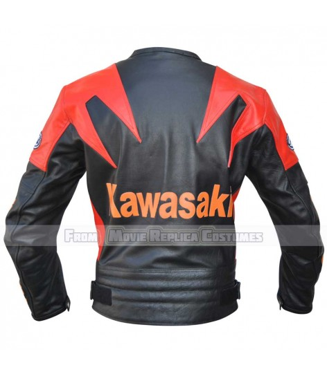 KAWASAKI RACING ORANGE RED BLACK MOTO LEATHER JACKET