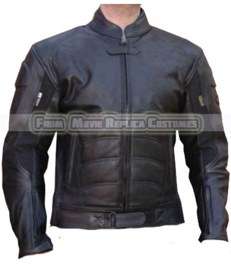 BATMAN DARK KNIGHT RISES MOTORCYCLE LEATHER RACING BLACK JACKET