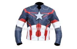 AVENGERS AGE OF ULTRON CAPTAIN AMERICA' STEVE ROGERS (CHRIS EVAN) LEATHER JACKET GULF BLUE