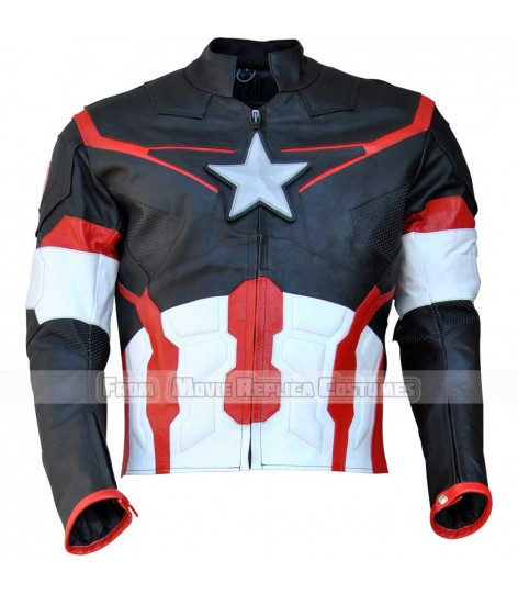 AVENGERS AGE OF ULTRON CAPTAIN AMERICA' STEVE ROGERS (CHRIS EVAN) LEATHER JACKET BRIGHT GREY