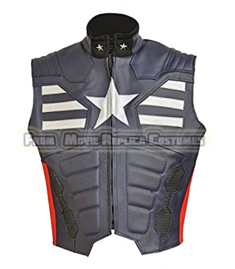THE WINTER SOLDIER CAPTAIN AMERICA' STEVE ROGERS (CHRIS EVAN) LEATHER VEST MULLED WINE