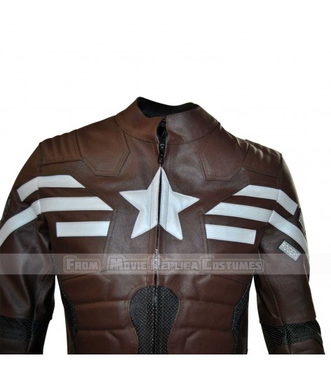 THE WINTER SOLDIER CAPTAIN AMERICA' STEVE ROGERS (CHRIS EVAN) LEATHER JACKET CONGO BROWN