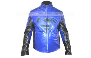 SUPERMAN-MAN OF STEEL-CLARK KENT (HENRY CAVILL) COSTUME LEATHER JACKET BLUE EDITION
