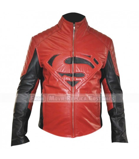 SUPERMAN-MAN OF STEEL-CLARK KENT (HENRY CAVILL) COSTUME LEATHER JACKET RED EDITION