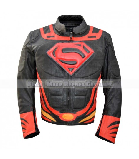 SUPERMAN-MAN OF STEEL-CLARK KENT (HENRY CAVILL) COSTUME LEATHER JACKET SPECIAL EDITION