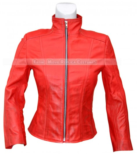 AVENGERS AGE OF ULTRON'S SCARLET WITCH (ELIZABETH OLSEN) LEATHER JACKET