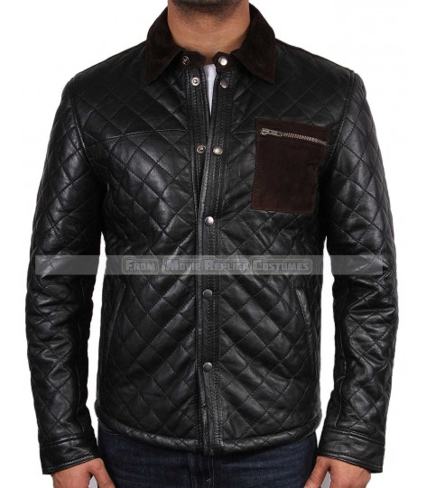 MEN'S COOL HIDES QUILTED FASHION COP TOP QUALITY REAL LEATHER JACKET