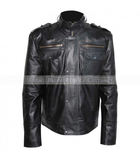 MEN'S COOL HIDES BLACK FASHION RIP OFF TOP QUALITY REAL LEATHER JACKET