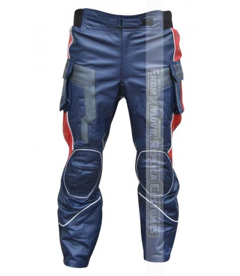 AVENGERS AGE OF ULTRON CAPTAIN AMERICA' STEVE ROGERS (CHRIS EVAN) LEATHER PANT GULF BLUE